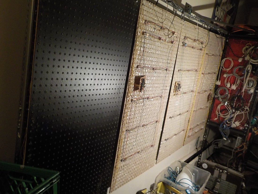 Showing the backs of the panels